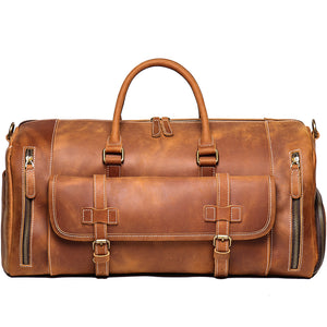 Personalized Vintage Leather Duffle Bag With Shoe Compartment,Good Travel Bag - icambag