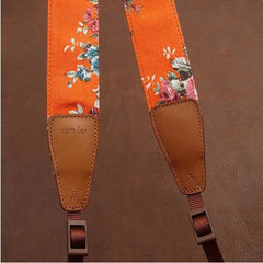 Orange Big Flower National Wind Camera Strap Handmade Leather Camera Strap Brown 7136 - icambag