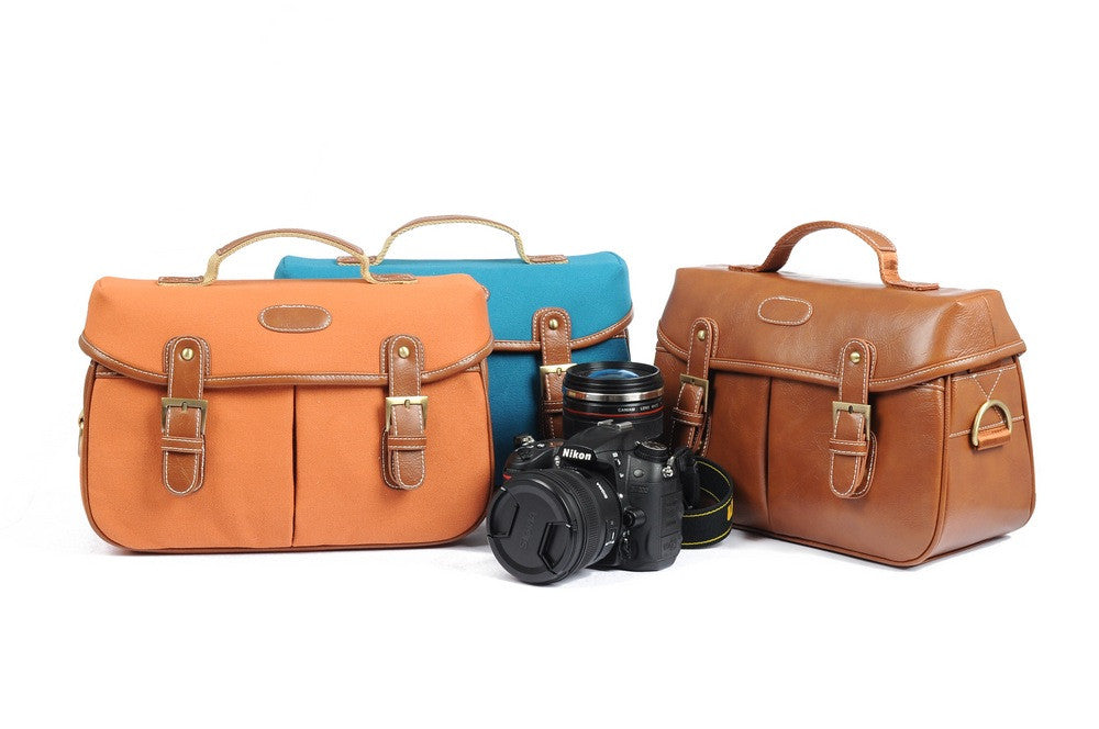 Orange Vintage DSLR Camera Bag - icambag