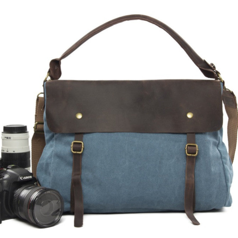 Professional Camera Bag Leisure Leather Canvas DSLR Camera Bag Birthday Present Christmas Gift33683 - icambag