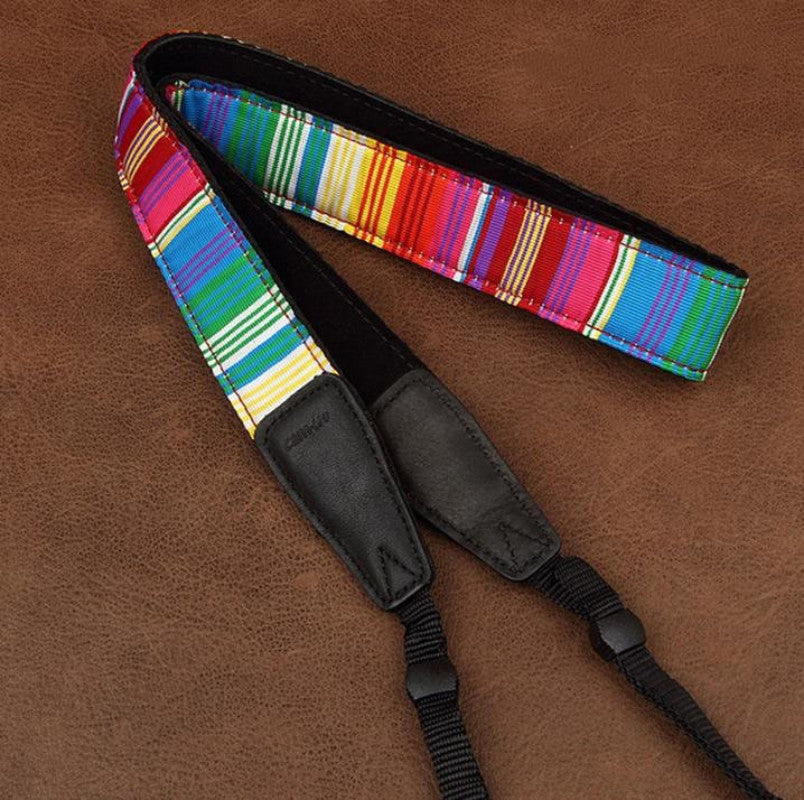 Rainbow Stripe Strap Sony Handmade Leather Camera Strap Bohemia Style 8383 - icambag