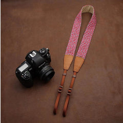 Red Apple Cowboy Flower Handmade Leather Camera Strap Brown 7119 - icambag