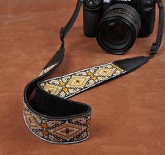 Retro Flower Handmade Leather Camera Strap Black 8461 - icambag