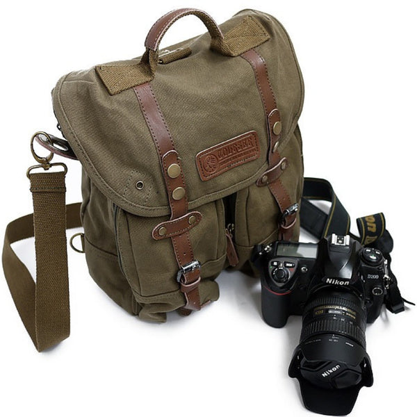 Safari Canvas Camera Bag Canvas Hand Crafted Canvas DSLR Bag Cowhide Backpack F1006 Green - icambag