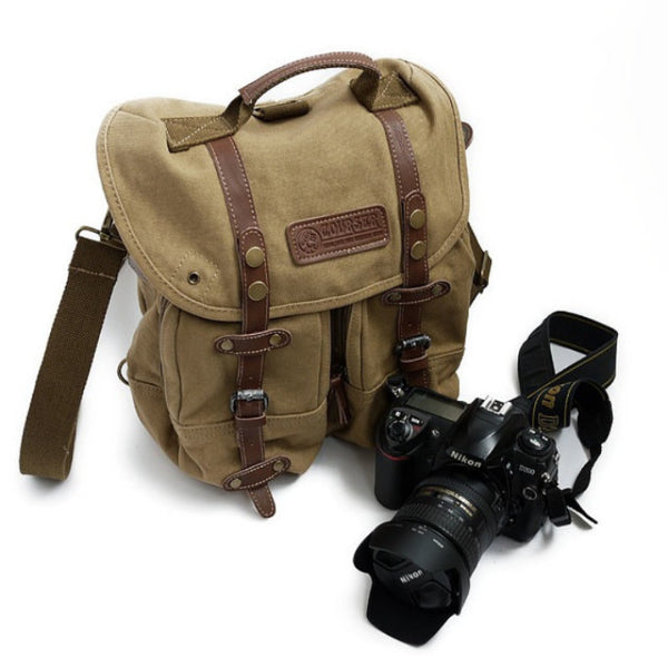 Safari Canvas Camera Bag Canvas Hand Crafted Canvas DSLR Bag Cowhide Backpack F1006 Yellow - icambag