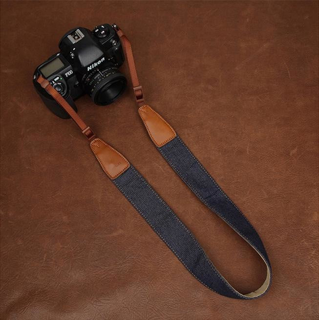 Simple Clean Cowboy Red and Light Blue Handmade Leather DSLR Camera Strap CS049 - icambag