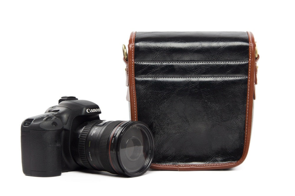 Small Black PU Leather DSLR Camera Message Bags - icambag