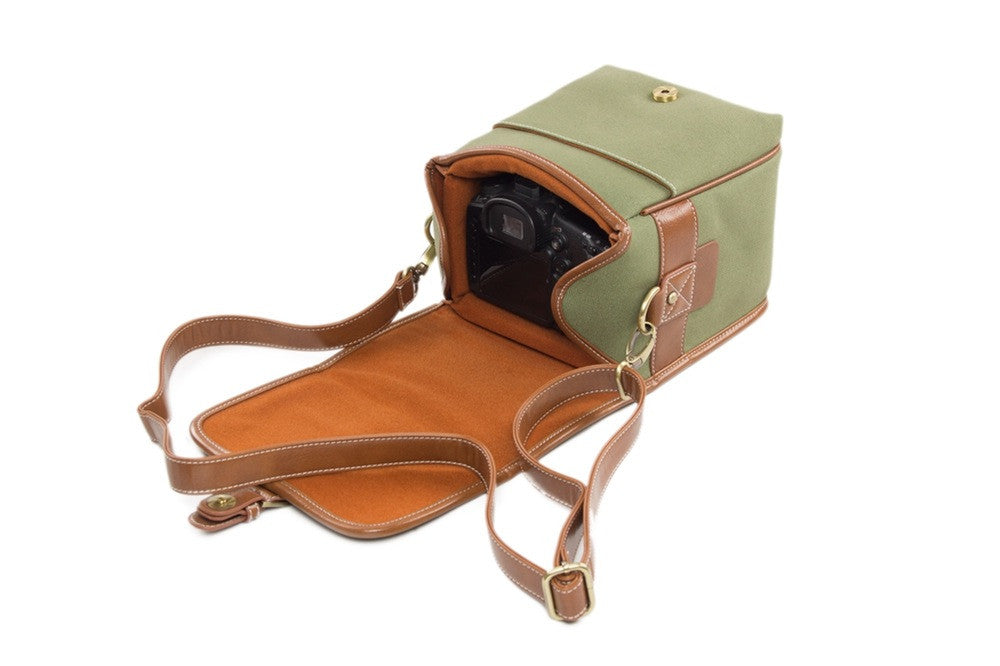 Small Green PU Leather DSLR Camera Bags - icambag