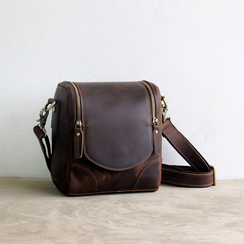 Vintage Small Leather DSLR Men and Women Camera Bag - icambag