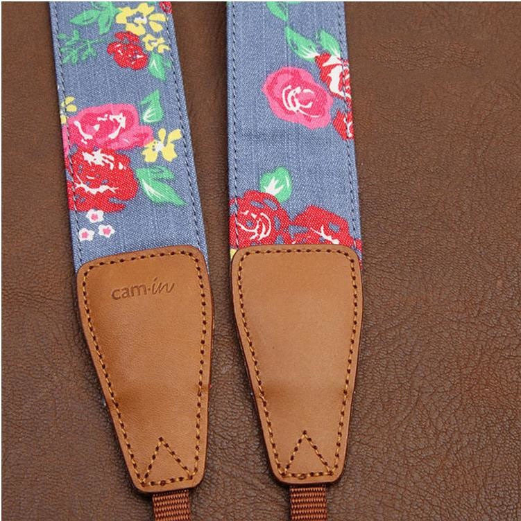 Strawberry Flowers DSLR Camera Cotton Handmade Camera Strap 7105 - icambag