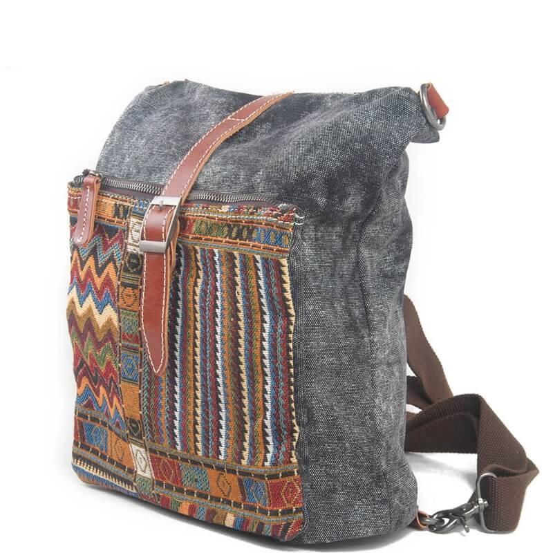 Retro Stripe Canvas Leisure Laptop Backpack 1016 - icambag
