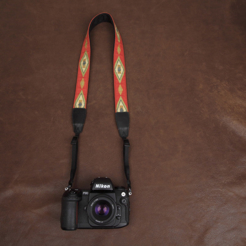 Orange Embroidery Series Flowers Pattern brown Handmade DSLR Leather Camera Strap 7590 - icambag