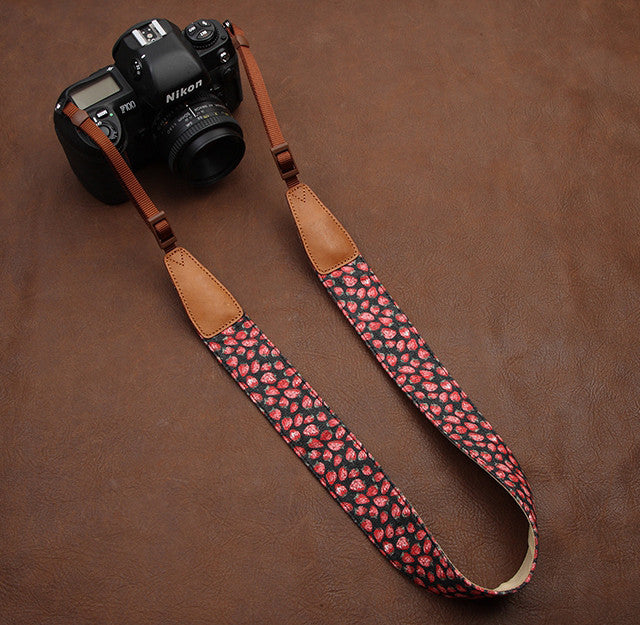 Dark Black Cowboy Strawberry Flower Handmade Leather Camera Strap Brown 7122 - icambag