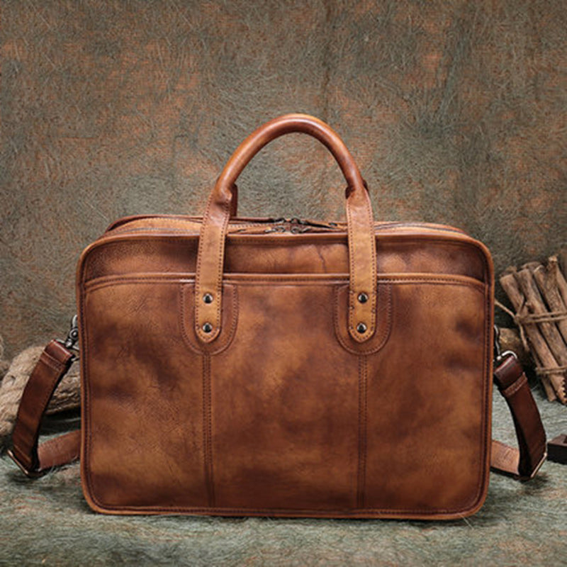 Handmade Full Grain Leather Handbags Mens Briefcase 16   Laptop Business Handbag  Messenger Bag - a586536896e34