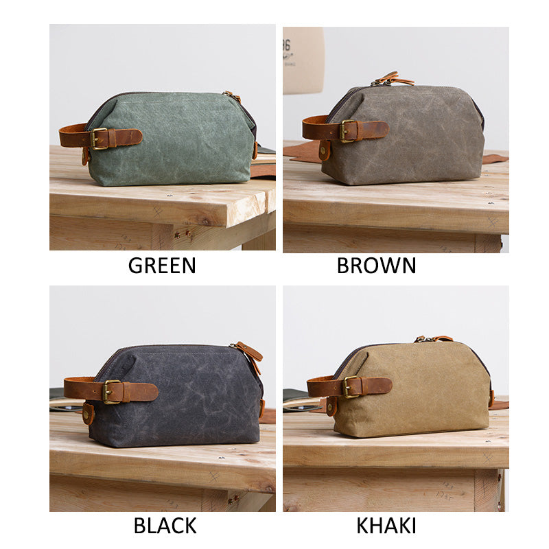 HANDMADE Men's Canvas Toiletry Bag Wedding Leather Clutch Bags Men's Groomsman's Gifts in Brown - icambag