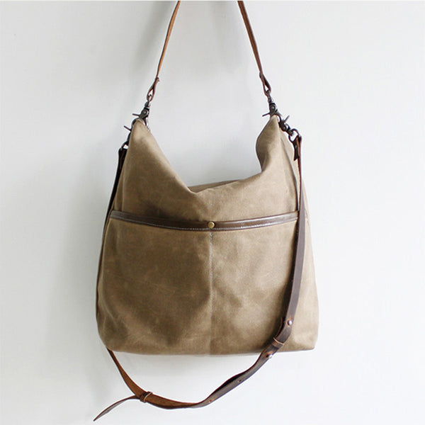 Handmade Canvas Bag ,Handcrafted Women Totes Bag, School Bag,Daily Big Pocket Bag 14042 - icambag