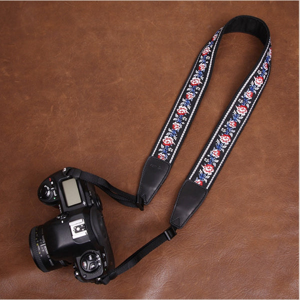 Embroidered Style Red Flowers Canon Handmade Leather Camera Strap 7548 - icambag