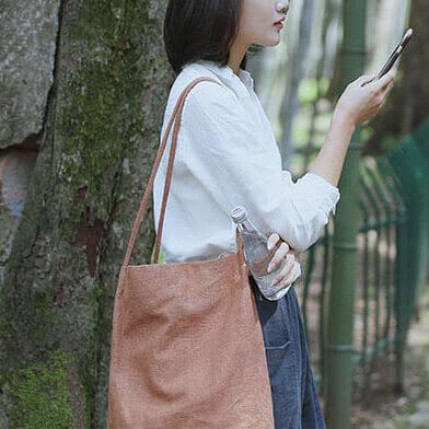 Korean Style Women's Linen Leisure Crossbody Bag 066 - icambag