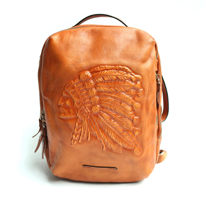 Backpack Original First Layer Cowhide Handmade Retro Backpack Leather Computer Bag Shoulder Bag - icambag