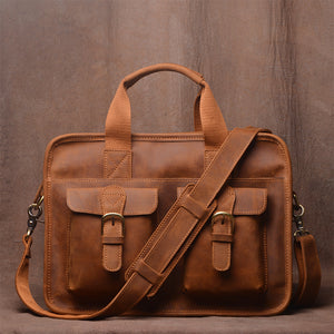 Men's Message Bag Vintage Handmade Head Leather Briefcase Cross-Body Bag Casual Crazy Horse Leather bag - icambag