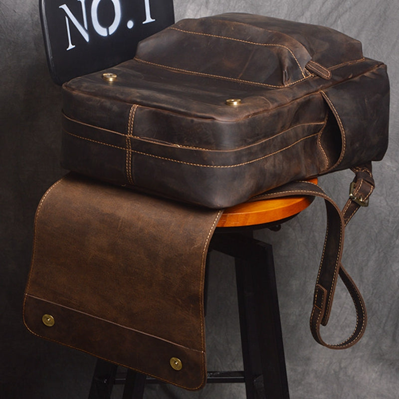 Retro New Crazy Horse Leather Backpacks Casual Travel Bags Leather Handcrafted High Volume Backpacks - icambag