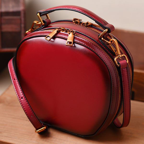 Handmade Full Grain Leather Handbags Purse For Women Shoulder Bag Red Leather Crossbody Bag 8100 - icambag