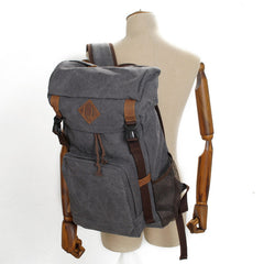 Leisure men's and women's Leather Canvas Backpack Laptop Backpack 9134 - icambag