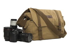 Vintage Fashionable Canon Nikon Canvas Camera Bag Casual One shoulder SLR Camera Bag F1001 Yellow - icambag