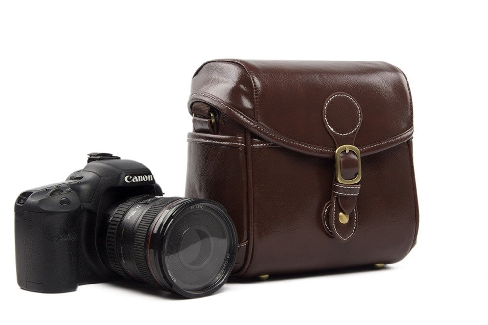 Vintage PU Leather Retro Camera Shoulder Bag DSLR Camera Bag for Nikon Canon Sony Bag 288 Coffee - icambag