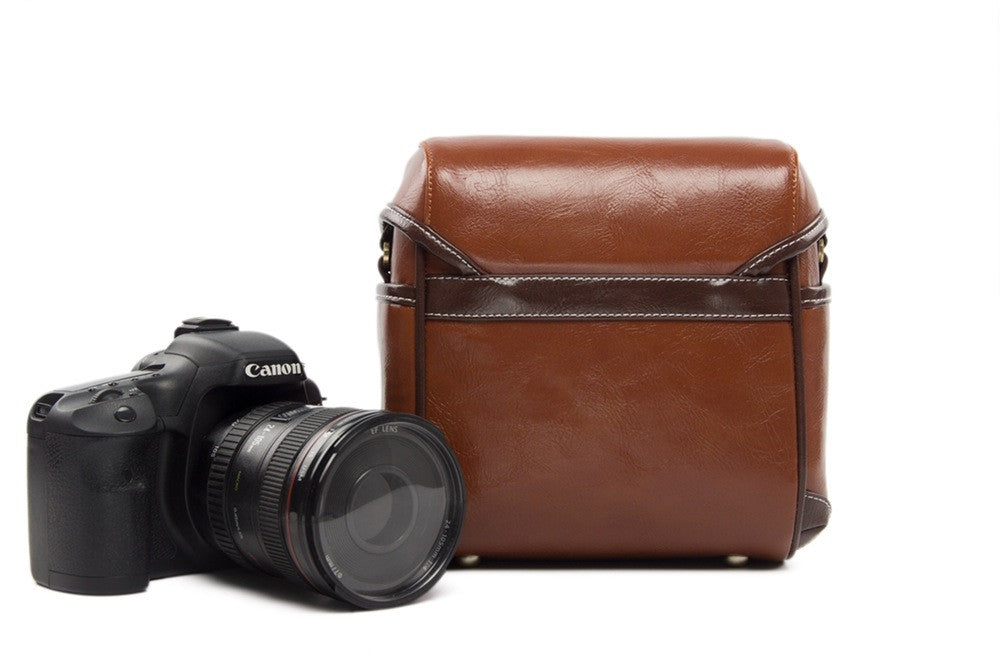 Vintage PU Leather Retro Camera Shoulder Bag DSLR Camera Bag for Nikon Canon Sony Bag 288 Red - icambag