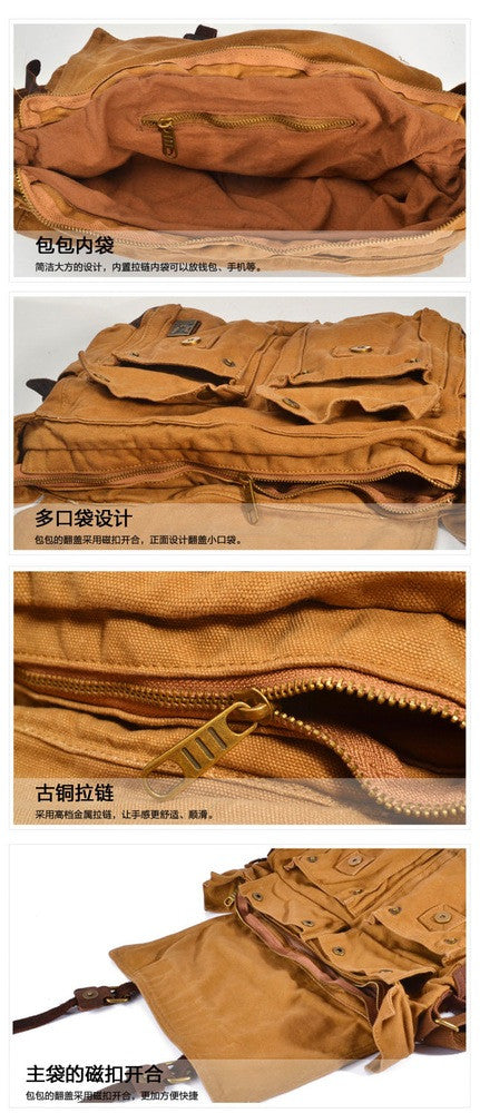 Vintage Yellow Leather Canvas Bag School Bag Messenger Canvas Shoulder Bag Laptop bag 2138 - icambag