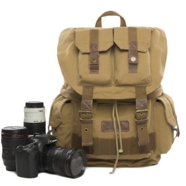 Waterproof Vintage Backpack DSLR Camera Bag Cowhide Canvas Backpack Insert Bag F2001 Yellow - icambag