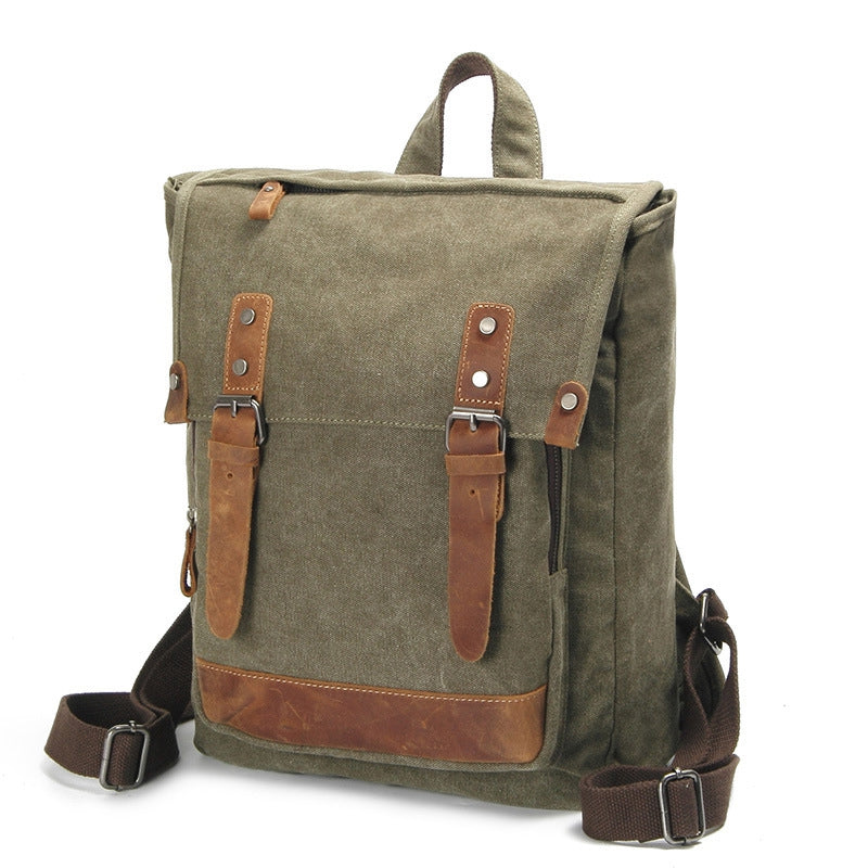 19cffb9e428f Vintage Waxed Canvas Backpack With Crazy Horse Leather