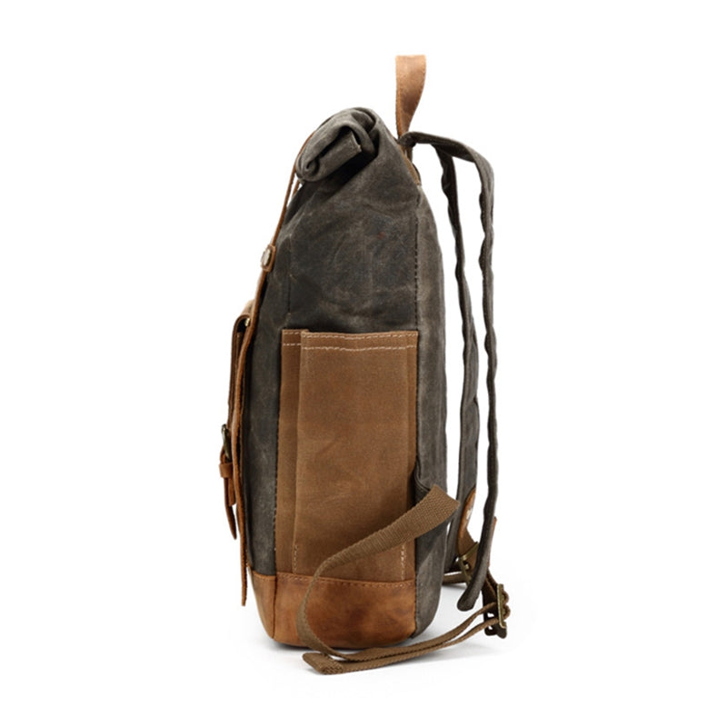 008bb90b3bb8 Waxed Canvas Backpack With Leather