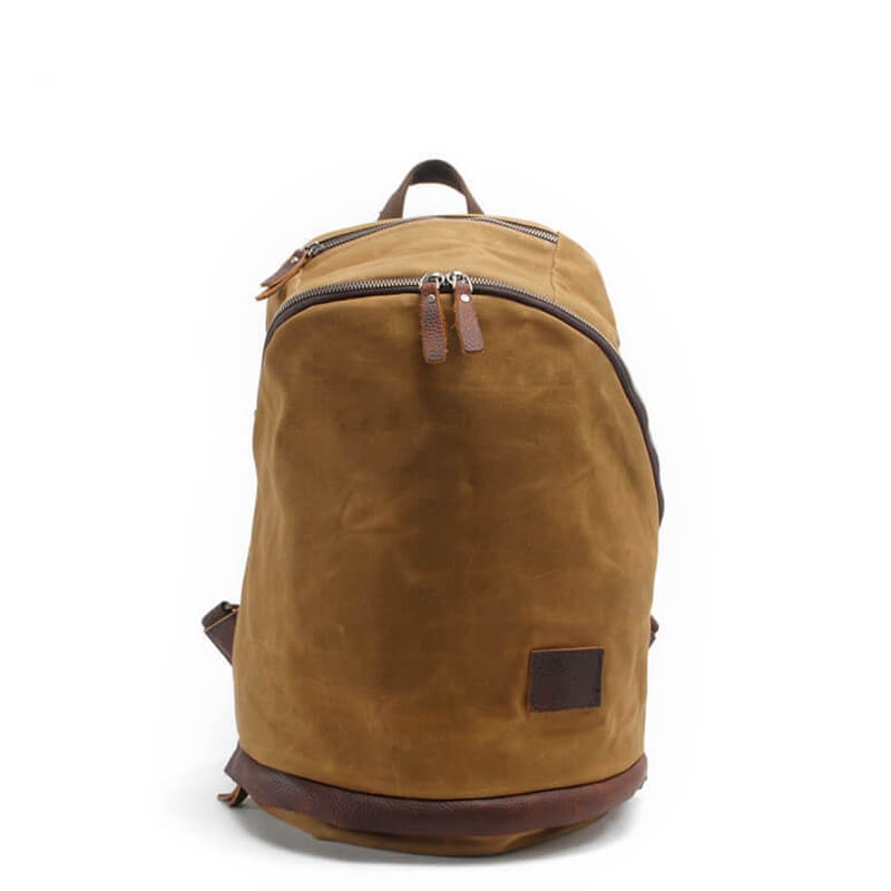 Waxed Leisure Leather Bag,Retro Top Grain Canvas Backpack ,Popular Shool Bag 2038 - icambag