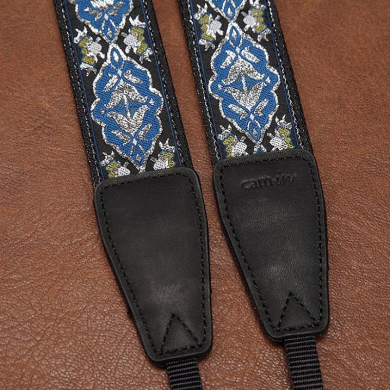 Weaving Style Blue Argyle Strap  Handmade Leather Camera Strap 8410 - icambag
