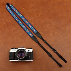 Blue flowers Strap  Handmade Leather Camera Strap 8416 - icambag