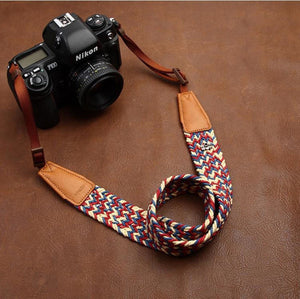 Weaving Style Purple Handmade Leather Camera Strap 8782 - icambag
