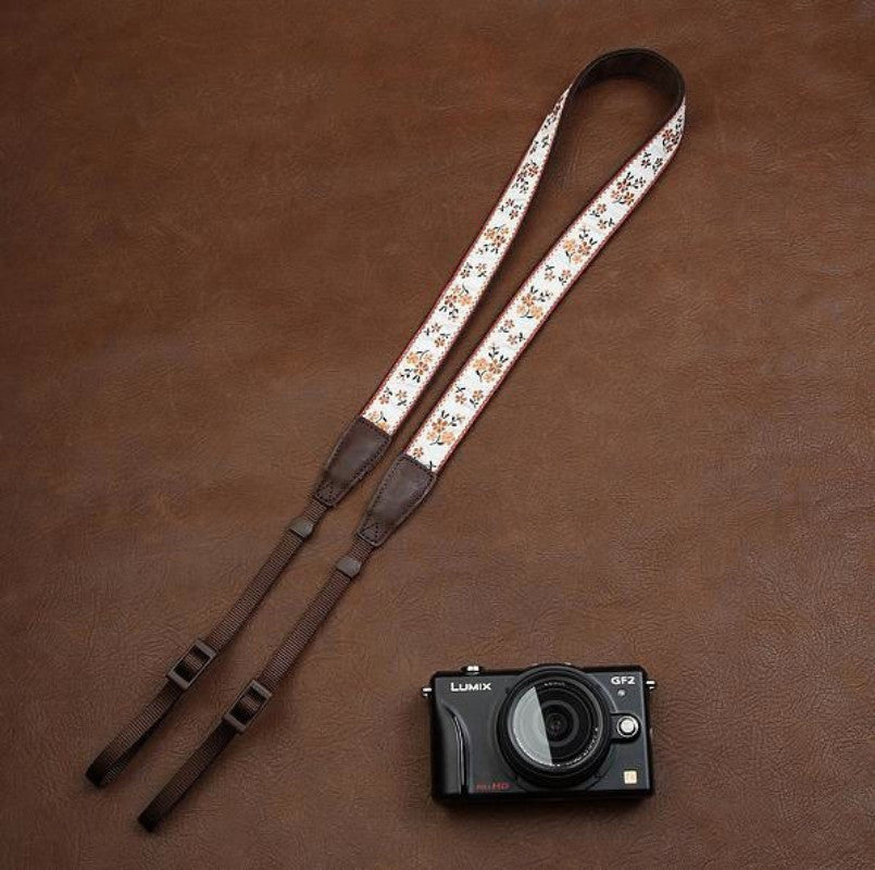White Floral Embroidery Series brown Handmade DSLR Leather Camera Strap 7547 - icambag