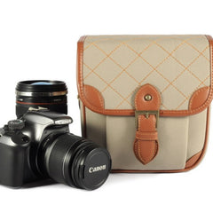 White Leather DSLR Camera Bags--Padded Camera Insert One Body One Lens 118 - icambag
