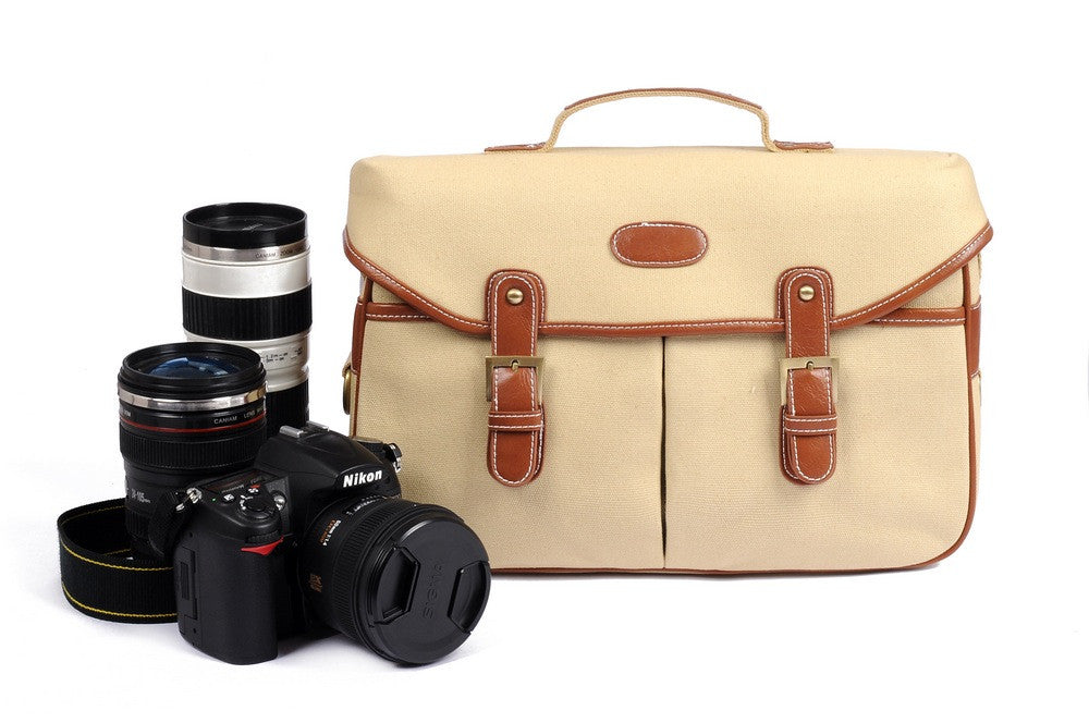 White Vintage Look Britpop DSLR Camera Bag Canon Nikon Sony Shoulder Canvas Bag Christmas Gift - icambag