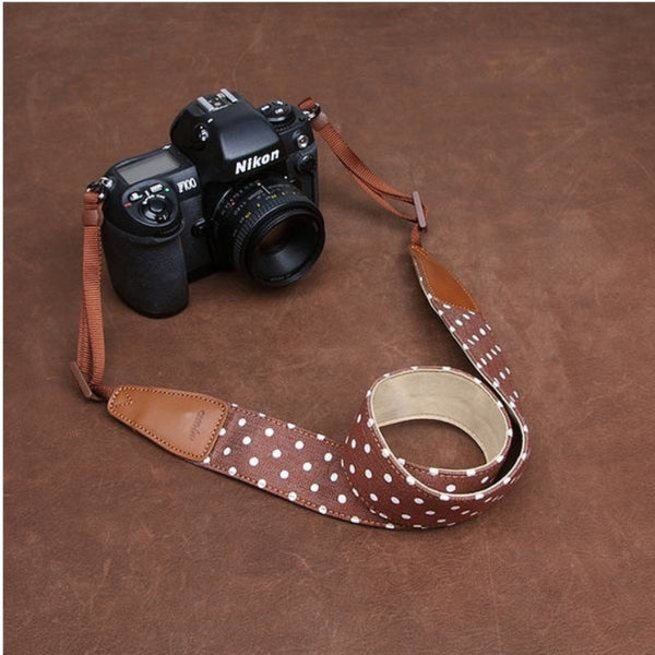 White dot Coffee Handmade Leather DSLR Polka Dot Camera Strap 7175 - icambag