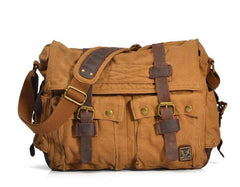Yellow DSLR Canvas Leather Camera Bag - icambag