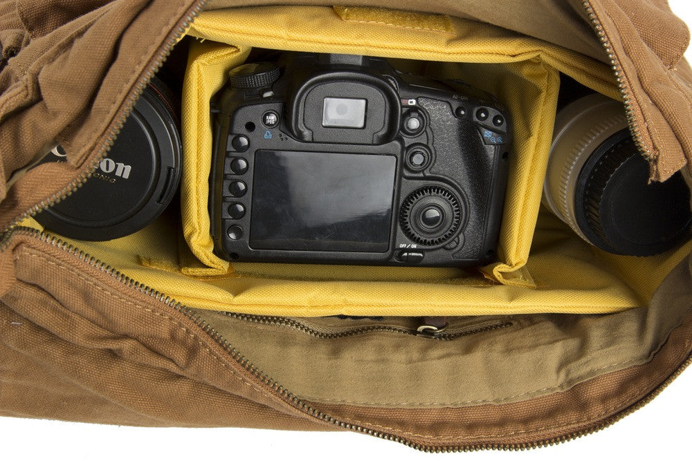 Yellow DSLR Vintage Leather Camera Bag - icambag