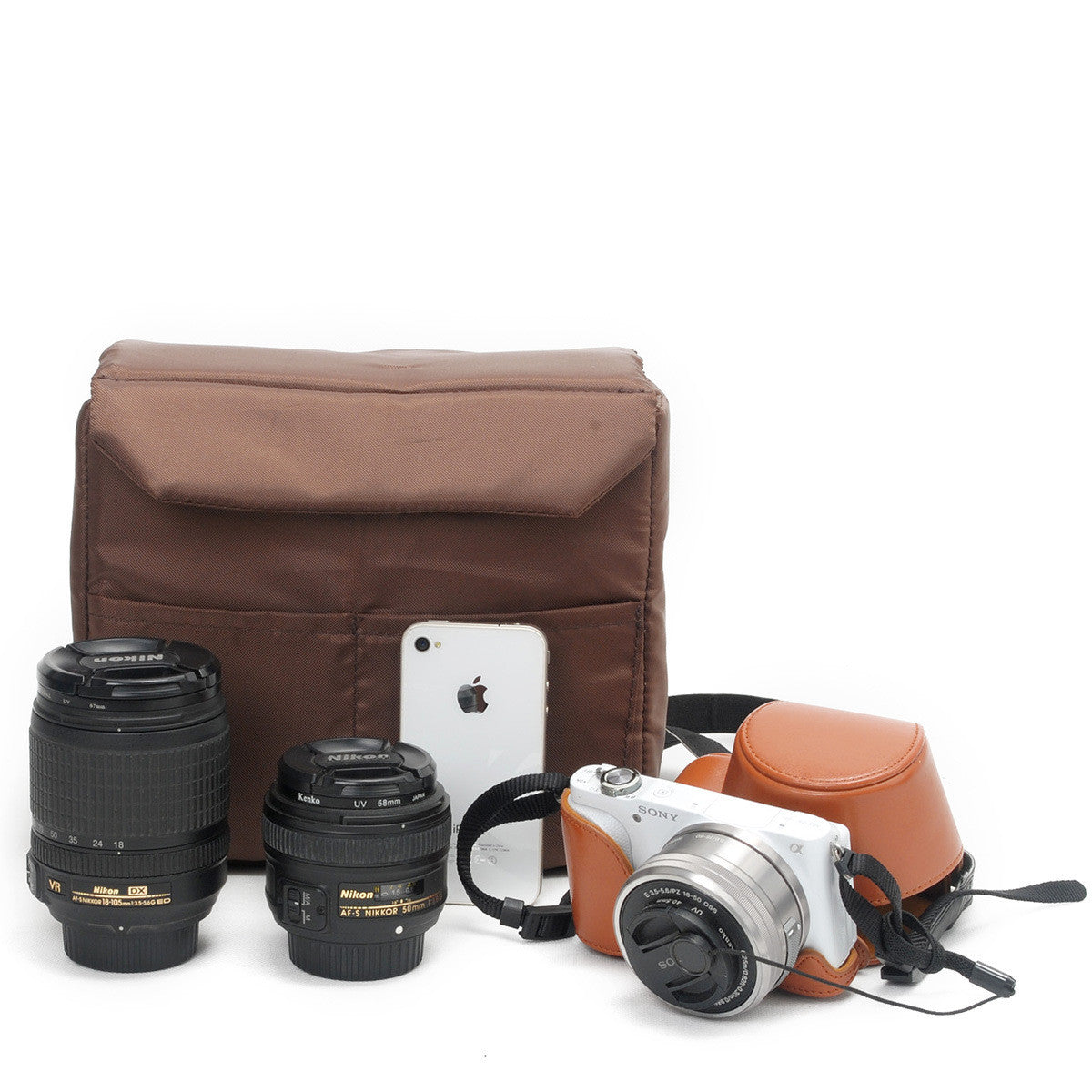 Coffee DSLR Camera Bag Insert One Body Two Lens B37 - icambag