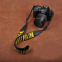 Cotton Tiger Stripe Strap Leather DSLR Camera Strap 8264 - icambag