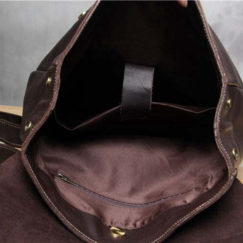 Handmade Vintage Leather School Bag Travel Backpack Laptop Bag Black Men Bag 9452 - icambag