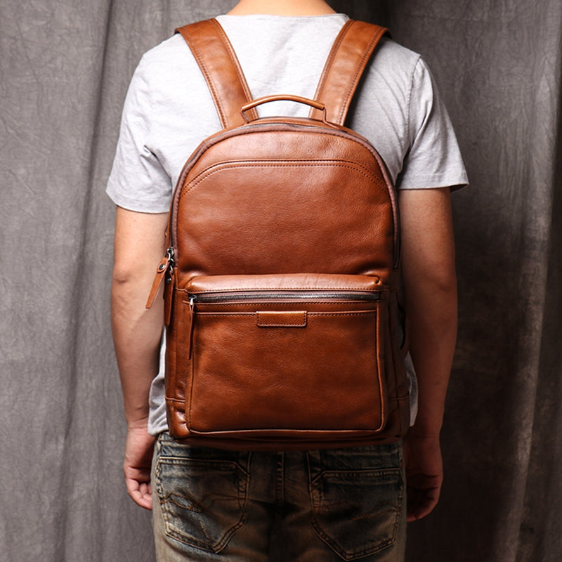 Backpack Head Layer Cowhide Leather Retro Travel Bag Casual Computer Package Fashion Women Backpack - icambag