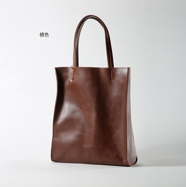 Brown Handmade Leather Men's and Women's Tote Shopping Bag - icambag