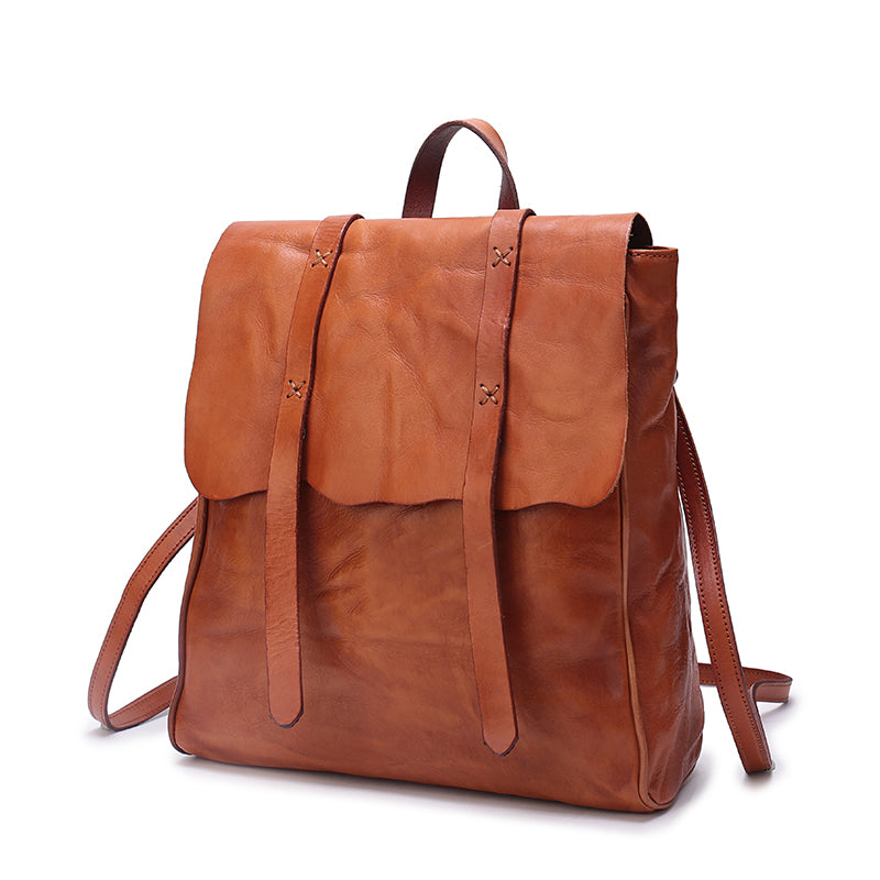 Handmade Fashion Designer Top Grain Leather Backpacks For Women - icambag